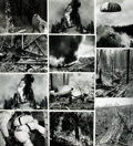 Books:Prints & Leaves, [Forest Fires]. Group of Thirty-Seven Photographs and Press PrintsRelating to Forest Fires.. ...