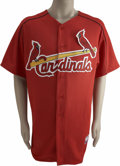 Baseball Collectibles:Uniforms, Tony LaRussa Batting Practice Worn Signed Jersey. The red Majestic batting practice jersey was worn by St. Louis Cardinals ...