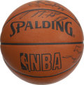 Basketball Collectibles:Balls, 1991-92 San Antonio Spurs Team Signed Basketball. Great OfficialSpalding Game ball contains the signatures of 11 members o...