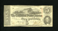"""Confederate Notes:1863 Issues, T60 $5 1863. Pencilled on the back by a collector is """"Unlisted No Series."""" There is no series designation on this note due t..."""
