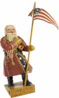 Political:3D & Other Display (1896-present), Beautiful Carved Patriotic Santa Claus from the Sharon Bush Collection....