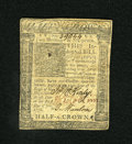 Colonial Notes:Delaware, Delaware January 1, 1776 2s/6d About New. A hard center fold isfound on this note that has touch of soiling....