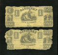Obsoletes By State:Ohio, Sandusky, OH- Bank of Sandusky $1 ?, 18?? Two Examples. These notessaw extensive circulation in the wilds of Ohio. Edge tra... (Total:2 notes)