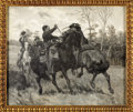 "Military & Patriotic:Civil War, DRAMATIC OIL ON CANVAS RENDERING OF A CAVALRY SABER DUEL DURING ""STUART'S RIDE"" BY WILLIAM B. T. TREGO...."