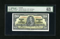 """Canadian Currency: , BC-25c $20 1937.. PMG denotes """"exceptional paper quality"""" for this $20. PMG Choice Uncirculated 63...."""