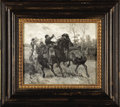 """Military & Patriotic:Civil War, Dramatic Oil on Canvas Rendering of a Cavalry Saber Duel During""""Stuart's Ride"""" by William B. T. Trego...."""