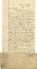 """Autographs:Military Figures, LETTER TO FITZHUGH LEE DESCRIBING STONEWALL JACKSON'S """"COCOANUT CUP""""...."""
