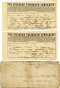 Autographs:Military Figures, FITZHUGH LEE TELEGRAM TO J.E.B. STUART PLUS ENVELOPE IN STUART'S HAND....