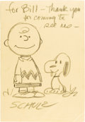 Original Comic Art:Sketches, Charles Schulz - Charlie Brown and Snoopy Specialty Sketch Original Art (undated)....