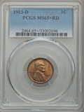 Lincoln Cents, 1913-D 1C MS65+ Red PCGS....