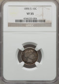Barber Dimes: , 1896-S 10C VF35 NGC. NGC Census: (3/82). PCGS Population (10/124).Mintage: 575,056. Numismedia Wsl. Price for problem free...