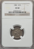 Three Cent Nickels: , 1882 3CN XF40 NGC. NGC Census: (8/79). PCGS Population (18/140). Mintage: 22,200. Numismedia Wsl. Price for problem free NG...