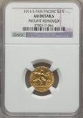 Commemorative Gold, 1915-S $2 1/2 Panama-Pacific Quarter Eagle -- Mount Removed -- NGCDetails. AU. NGC Census: (3/1979). PCGS Population (11/2...
