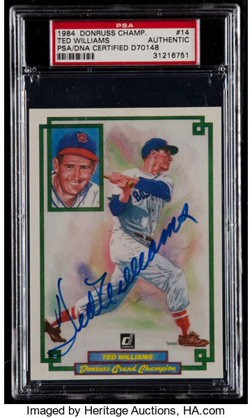 Signed 1984 Donruss Champions Ted Williams 14 Psa Authentic