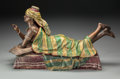 Decorative Arts, French, A Viennese Cold Painted Bronze Erotic Figure In Three Parts AfterLouis Hottot: Odalisque Reclining on a Divan. Insc...(Total: 3 Items)