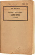 Books:Reference & Bibliography, [Reference]. [American Military]. Military Dictionary (Advance Installment). Washington: United States Governmen...