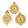 Timepieces:Pendant , Three lady's Pendant Watch One Is 14k Gold. ... (Total: 3 Items)