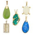 Estate Jewelry:Pendants and Lockets, Multi-Stone, Diamond, Gold Pendants. ... (Total: 5 Items)