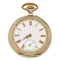 Timepieces:Pocket (pre 1900) , Vintage Remontoir Silver Pair Case Fancy Dial Pocket Watch. ...