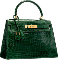 Hermes 25cm Shiny Vert Emerald Crocodile Sellier Kelly Bag with Gold Hardware T, 1964 Very Good C