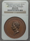 U.S. Presidents & Statesmen, 1840 William Henry Harrison Campaign Medal MS63 Brown NGC.DeWitt-WHH-1840-4. Copper, 43mm....