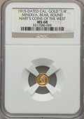 California Gold Charms, 1915 California Gold 1/4, Minerva, Bear, Round, MS68 NGC. M.E. Hart's Coins of the Golden West....