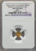 California Gold Charms, 1881 Moon and Shooting Star, California Gold -- Bent -- NGC Details. Unc....