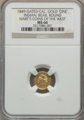 """California Gold Charms, """"1849"""" California Gold One, Indian, Bear, Round, MS66 NGC. M.E. Hart's Coins of the Golden West...."""