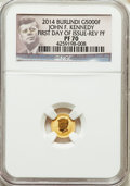 Burundi, 2014 G5000 Fr Reverse Proof John F. Kennedy, Early Releases PR69 Ultra Cameo NGC. 0.5 grams .9999 Gold....