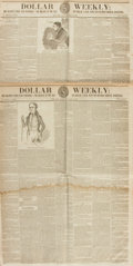Books:Periodicals, [Newspapers]. Two Issues of Dollar Weekly, Circa 1842....
