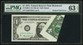 Error Notes:Foldovers, Fr. 1908-E $1 1974 Federal Reserve Note. PMG Choice Uncirculated 63EPQ.. ...