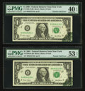 Error Notes:Foldovers, Fr. 1926-B $1 2001 Federal Reserve Notes. Two Consecutive Examples.PMG Graded.. ... (Total: 2 notes)