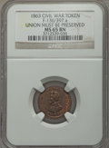 Civil War Patriotics, 1863 Union Must Be Preserved MS65 Brown NGC, Fuld-136/397a; 1863Army & Navy MS65 Brown NGC, Fuld-233/312a; Undated I.O.U.One... (Total: 3 tokens)