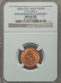 Civil War Patriotics, 1863 Knickerbocker Currency MS64 Red and Brown NGC, Fuld-37/255a;1863 Horrors of War MS64 Red and Brown NGC, Fuld-37/256a; 18...(Total: 3 tokens)
