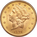 Liberty Double Eagles, 1891-S $20 MS64 PCGS. CAC....