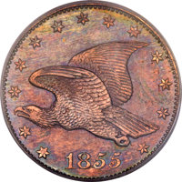 1855 P1C Flying Eagle Cent, Judd-168 Original, Pollock-193, R.4 PR63 Red and Brown PCGS. CAC....(PCGS# 11721)