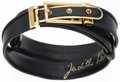 "Luxury Accessories:Accessories, Judith Leiber Black Karung Belt with Gold Hardware. Very GoodCondition. Adjustable Length 20""- 33"" x 1"" Width. ..."