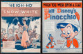 """Movie Posters:Animation, Snow White and the Seven Dwarfs & Others Lot (Irving Berlin,1937). Sheet Music (2) (Multiple Pages, 9"""" X 12"""") & UncutPress... (Total: 7 Items)"""