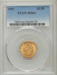 1907 $2 1/2 MS64 PCGS. PCGS Population (2299/1623). NGC Census: (2161/1559). Mintage: 336,200. Numismedia Wsl. Price for...