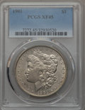 Morgan Dollars: , 1901 $1 XF45 PCGS. PCGS Population (483/4042). NGC Census: (358/4004). Mintage: 6,962,813. Numismedia Wsl. Price for proble...
