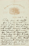 Autographs:Artists, William Rimmer, sculptor (1816 - 1879). Autograph Letter Signed.Dated October 21, 1869....