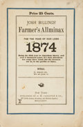 Books:Periodicals, [Almanacs]. Josh Billings' Farmer's Allminax for the Year of OurLord 1874. New York: G. W. Carleton & Co., 1874...