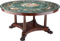 Furniture : Continental, A Neoclassical Mahogany Center Table with Verde Marble and PietraDura Top, late 19th century. 29-1/2 inches high x 57-1/4 i...