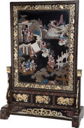 Asian:Chinese, A Large Chinese Lacquered Screen, early 20th century. 79 incheshigh x 53 inches wide x 23-3/4 inches deep (200.7 x 134.6 x ...