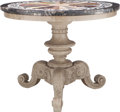 Furniture : Continental, A Round Specimen Marble Center Table on Painted Wood Pedestal Base,20th century. 30-1/2 inches high x 38 inches diameter (7...