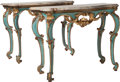 Furniture : Continental, A Pair of Venetian Rococo Painted and Partial Giltwood Consoleswith Marble Tops, late 18th century. 33-3/4 inches high x 45...(Total: 4 Items)