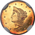 California Fractional Gold , 1870 $1 Goofy Head Round 1 Dollar, BG-1205, High R.4, MS62 DeepProoflike NGC....
