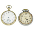 Timepieces:Pocket (post 1900), Hamilton 22 Jewel 4992 B & Waltham 15 Jewel Pocket Watches. ...(Total: 2 Items)