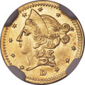 California Fractional Gold , 1853 50C Liberty Round 50 Cents, BG-420, Low R.7 -- ObverseScratched -- NGC Details. Unc....