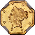 California Fractional Gold , 1854 $1 Liberty Octagonal 1 Dollar, BG-528, R.6, MS62 NGC....